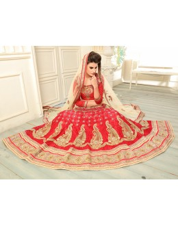 Wedding Wear Red Net Lehenga Choli - 19538