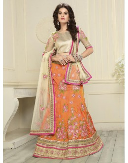 Festival Wear Orange Silk Lehenga Choli - 19541