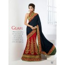 Wedding Wear Blue & Red Lehenga Saree - 19542