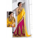 Designer Yellow & Pink Embroidery Lehenga Saree - 19544