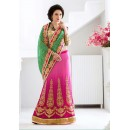 Festival Wear Green & Pink Lehenga Saree - 19545