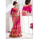 Pink Colour Designer Embroidery Lehenga Saree - 19547