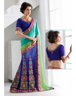 Party Wear Blue Embroidery Lehenga Saree - 19549