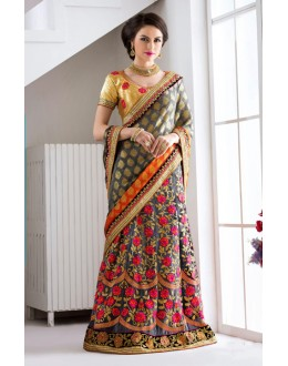Party Wear Multi-Colour Embroidery Lehenga Saree - 19550