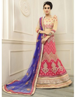 Designer Red Net Embroidery Lehenga Choli - 19695