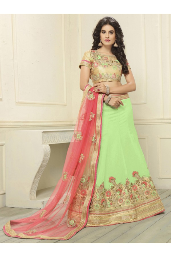 Festival Wear Green Banglori Silk Lehenga Choli - 19696