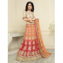 Bridal Wear Orange Banglori Silk Lehenga Choli - 19699