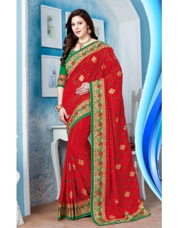 Ethnic Wear Red Crepe Silk Saree  - 19720