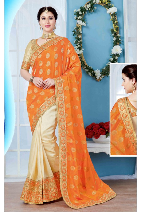 Festival Wear Orange & Beige Saree  - 19722