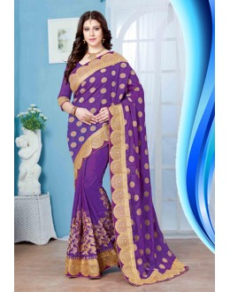 Party Wear Purple Jacquard Saree  - 19723