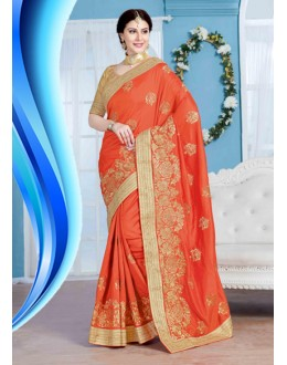 Designer Orange Crepe Silk Saree  - 19724