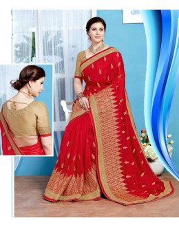 Ethnic Wear Red Crepe Silk Saree  - 19727