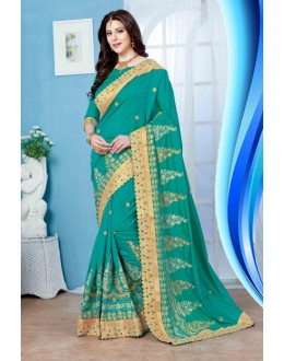Designer Green Crepe Silk Saree  - 19729