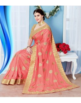 Party Wear Peach Crepe Silk Saree  - 19733