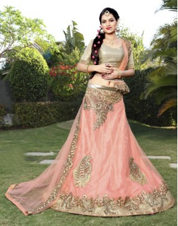 Festival Wear Light Peach Net Lehenga Choli - 19742