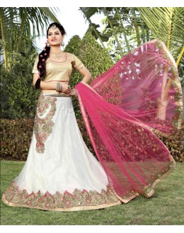 Festival Wear White Net Lehenga Choli - 19744