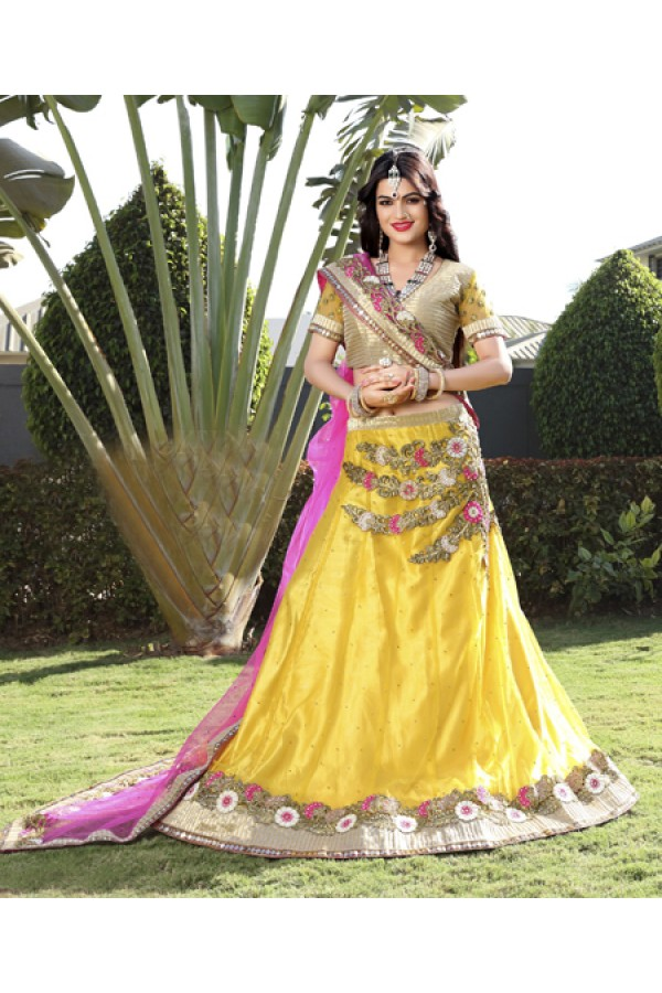 Designer Yellow Net Lehenga Choli - 19753