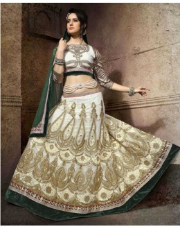 Bridal Wear White Net Lehenga Choli - 19757