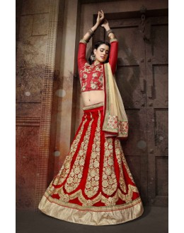 Wedding Wear Red Net Lehenga Choli - 19758