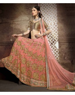 Wedding Wear Light Peach Net Lehenga Choli - 19760