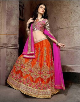 Designer Orange Net Lehenga Choli - 19762