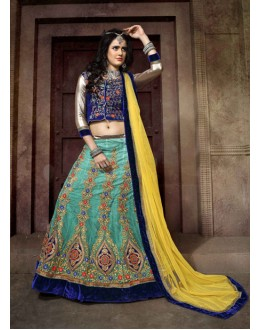 Festival Wear Blue Net Lehenga Choli - 19763