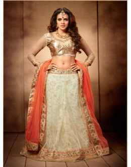 Party Wear White and Peach Designer Bridal Lehenga Choli - 19766