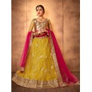 Wedding Wear Lemone yellow and Rani Designer Bridal Lehenga Choli - 19769