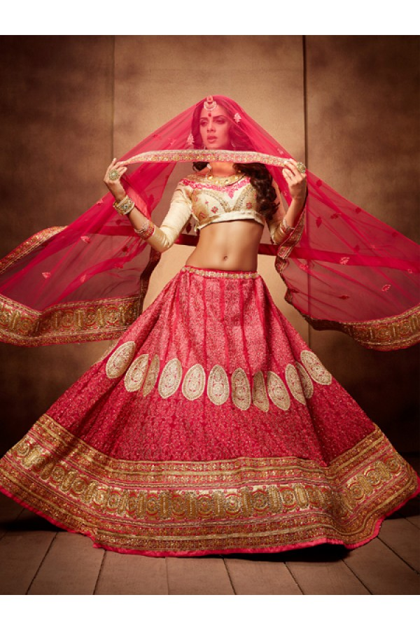 Party Wear Royal Pink Designer Bridal Lehenga Choli - 19771
