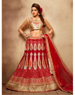 Party Wear Royal Red Designer Bridal Lehenga Choli - 19772