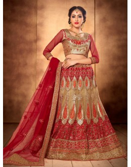 Traditional Wear Beige & Red Designer Bridal Lehenga Choli - 19774