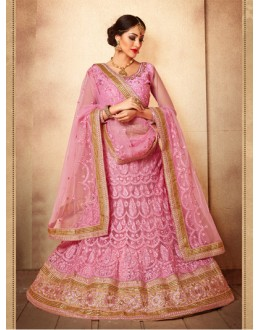 Party Wear Baby Pink Designer Bridal Lehenga Choli - 19776