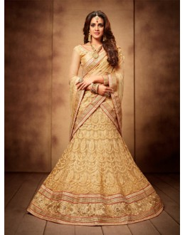 Wedding Wear Beige Designer Bridal Lehenga Choli - 19777
