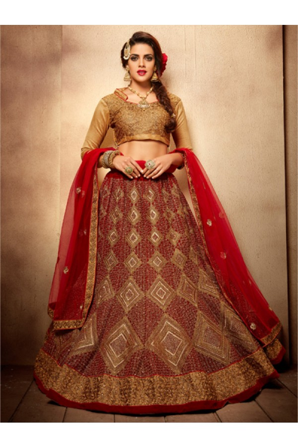 Festival Wear Royal Red Designer Bridal Lehenga Choli - 19779