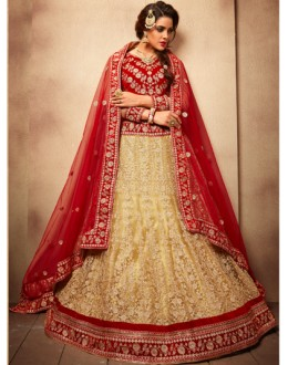 Party Wear Beige & Red Designer Bridal Lehenga Choli - 19784