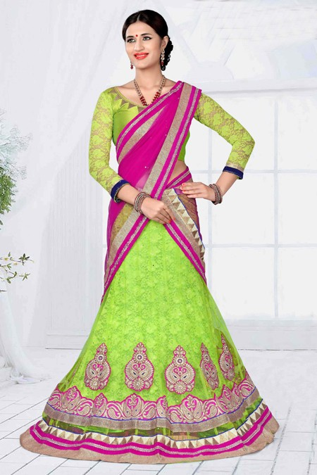 Traditional Wear Green Designer Net Lehenga Choli - 19789