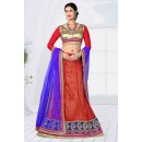 Party Wear Red Designer Net Lehenga Choli - 19794