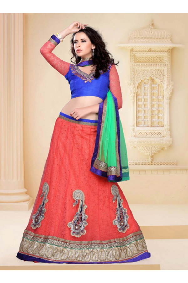 Party Wear Orange Designer Lehenga Choli - 19811