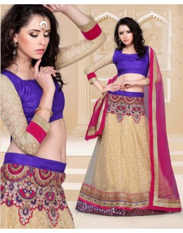 Wedding Wear Beige Designer Lehenga Choli - 19813