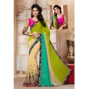 Casual Wear Beige & Pink Georgette Designer Saree  - 19847