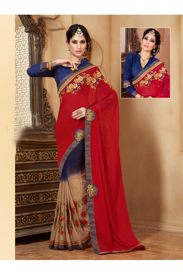 Festival Wear Blue Georgette Designer Saree  - 19854