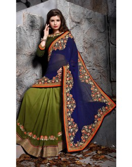 Party Wear Blue Designer Saree  - 19863
