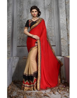 Casual Wear Red Designer Saree  - 19866