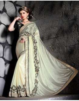 Party Wear White Designer Saree  - 19867