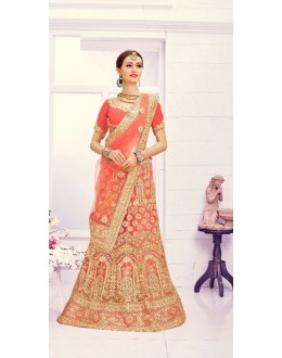 Weadding Wear Orange Designer Bridal Lehenga Choli - 19869