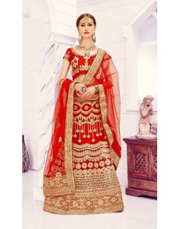 Party Wear Red Designer Bridal Lehenga Choli - 19870