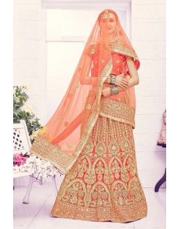 Traditional Wear Light Orange Designer Bridal Lehenga Choli - 19872