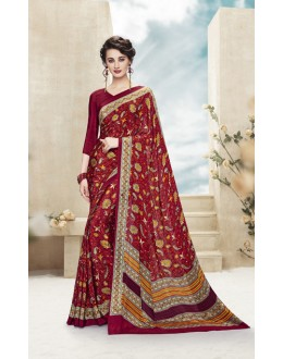Ethnic Wear Multi Colour Printed Saree  - 19876