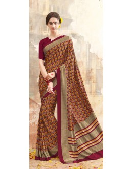 Casual Wear Multi Colour Printed Saree  - 19890