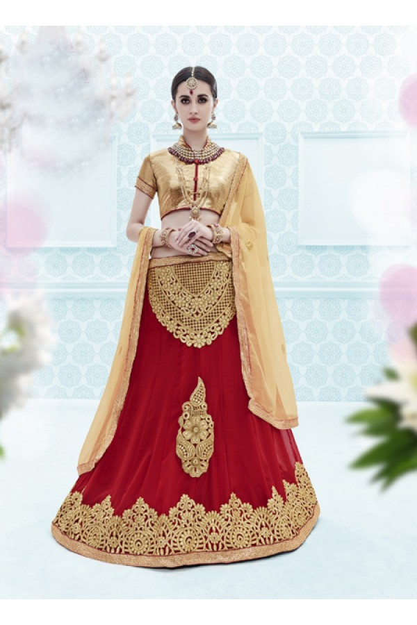 Wedding Wear Maroon Designer Net Lehenga Choli - 19906